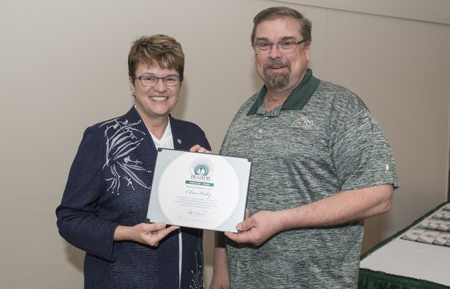 Chris Haley, office services supervisor, received the Spirit of BSU Award (individual).