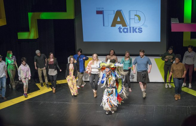 Larry Yazzie, native pride dancer, performed at the 2019 TAD Talks.