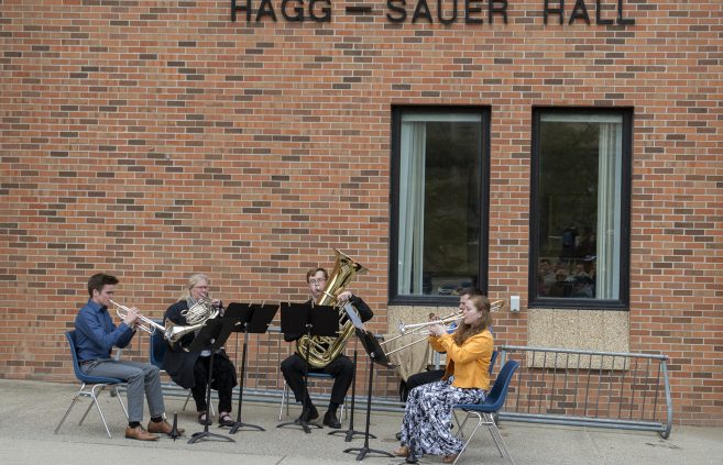 "The Bemidji State Brass Quintet performed ""Centone V, movement 1,"" by Samuel Schmidt."