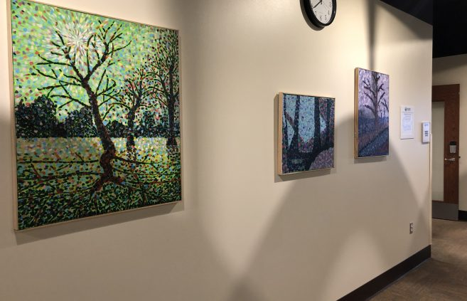Bemidji State University student artwork in Memorial Hall.