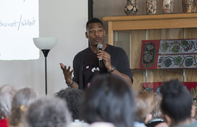 Distinguished Visiting Writer Terrance Hayes speaking during his Craft Talk.