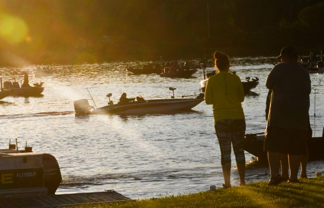 Boats on the water during the 2019 Carhartt Bassmaster College Series