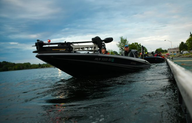 Boat on the river at the 2019 Carhartt Bassmaster College Series