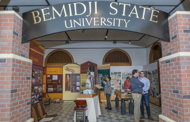Bemidji State Centennial display at the Beltrami County Historical Society.