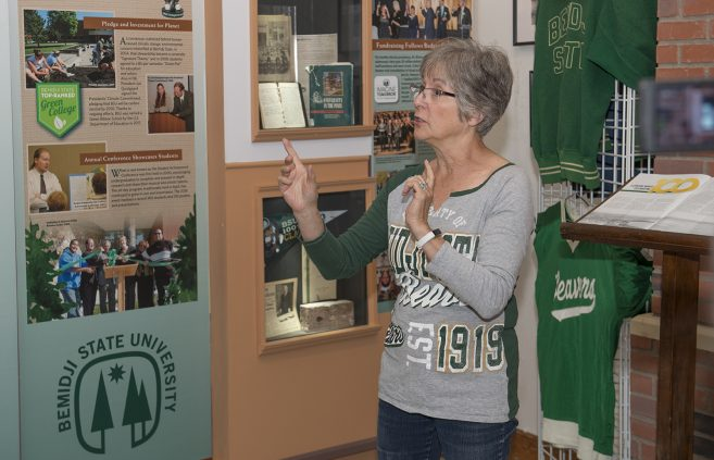 Sue Bruns, Beltrami County History Center board president, speaking at the exhibit opening.