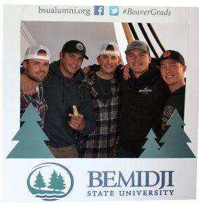 BSU Alumni posing in the sendoff frame