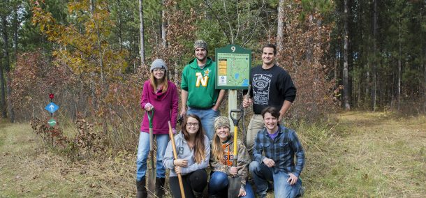 Students at BSU's Hobson Forest work to improve the trails.
