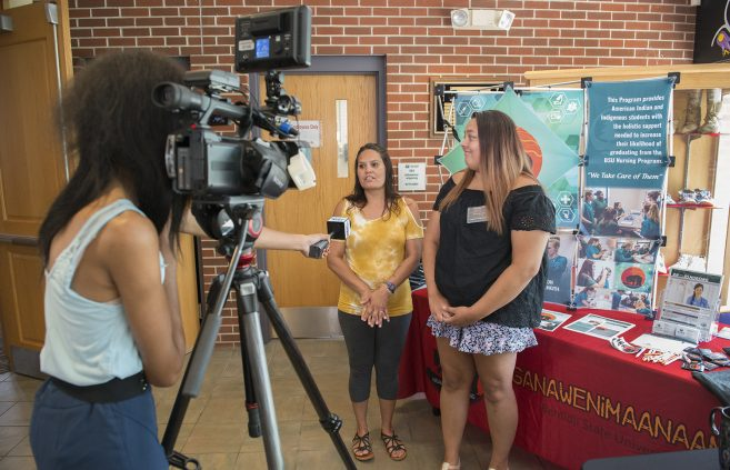 Attendees being interviewed by Lakeland Public Television at the Indigenous Nursing Conference.