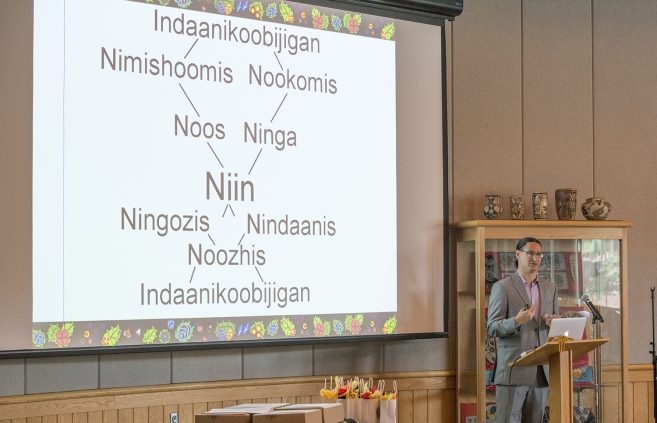 Kaagegaabaw James Vukelich speaking at the Indigenous Nursing Conference.