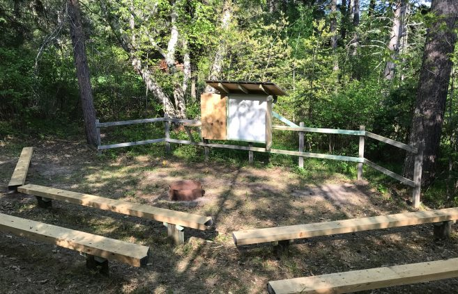 Hobson Memorial Forest renovated amphitheater and whiteboard.