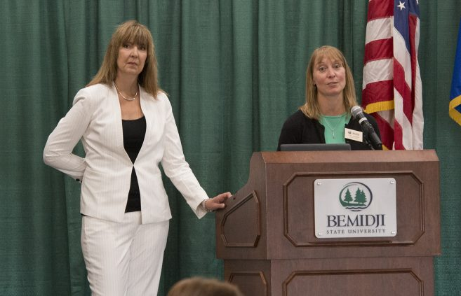 Debbie Guelda and Lynn Johnson, co-directors of the Teaching & Learning Center, speaking at the BSU Today! Conference.