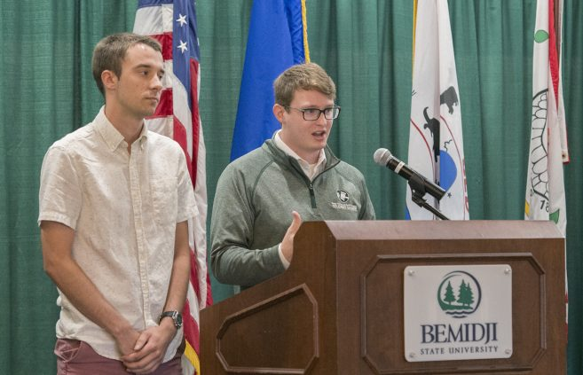 Student senate president Matthew Sauser and vice president Noah Wendland speaking at the President's Welcome Breakfast.