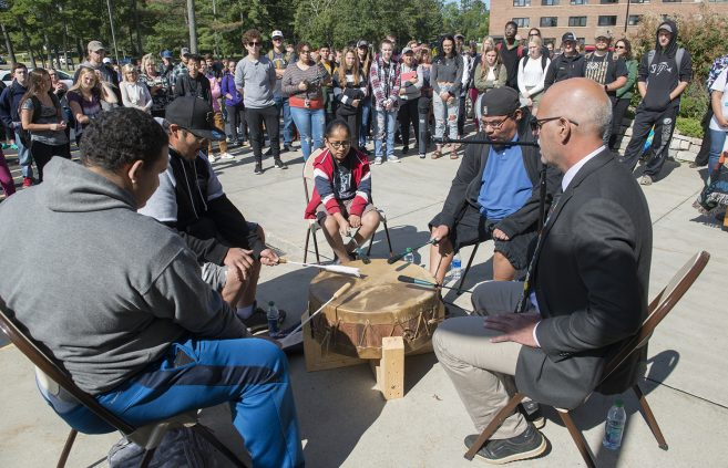 The Ojibwe Nation drum group plays an honor song at the Day of Welcome.