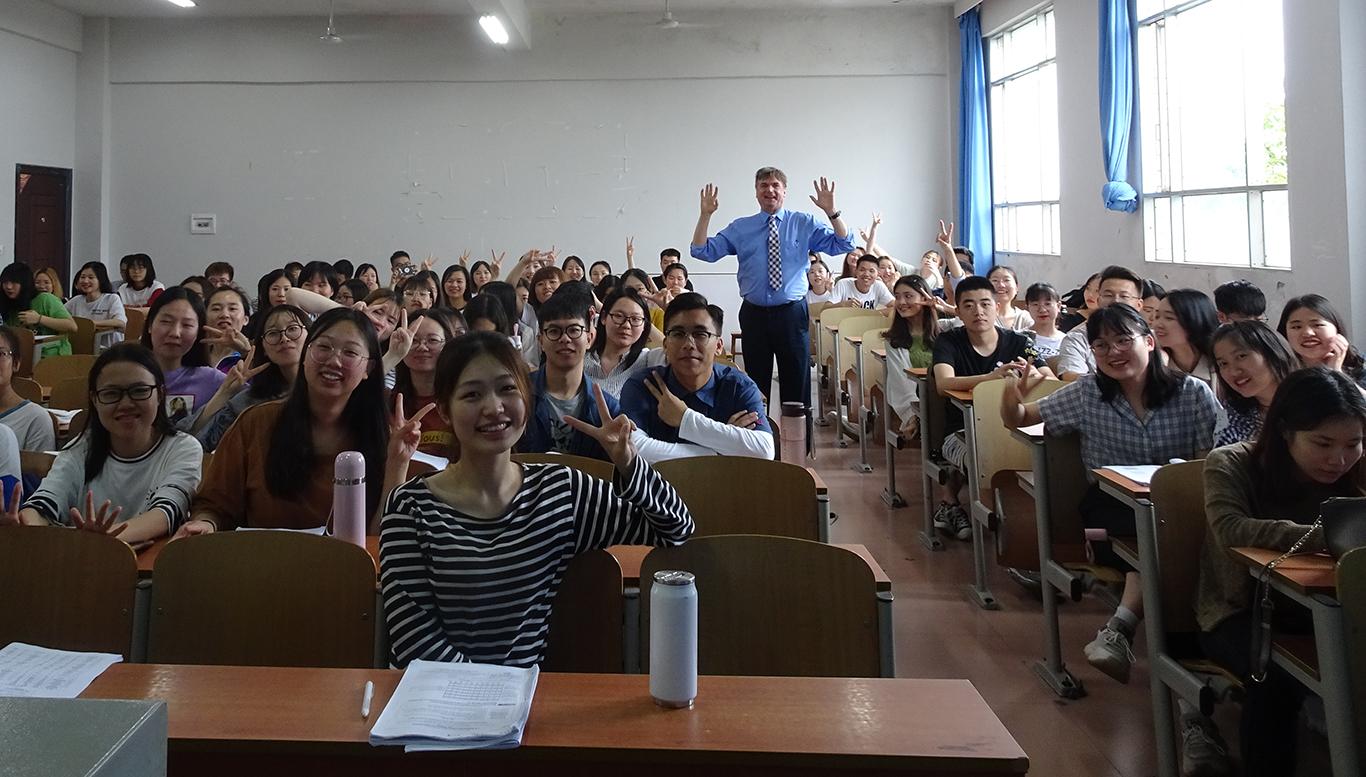 Dr. David Massaglia with his students.