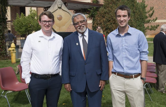 Malhotra with Sauser and Noah Wendland, BSU student body vice president.