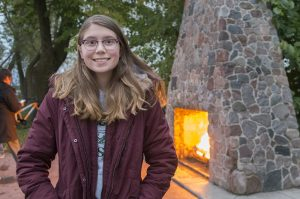 BSU senior Abbie Newman, an elementary education major from Crosby, Minn., attended the hearth lighting with a special connection to the fireplace.