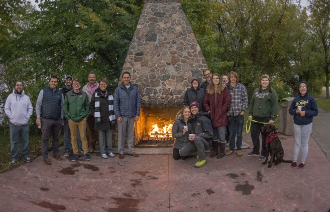 Friends and family of Bemidji State University gather around the first annual Homecoming Hearth.