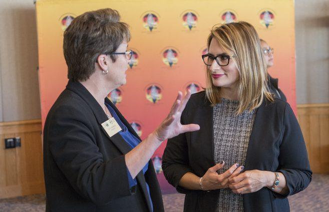 President Hensrud speaking with Lt. Governor Peggy Flanagan.