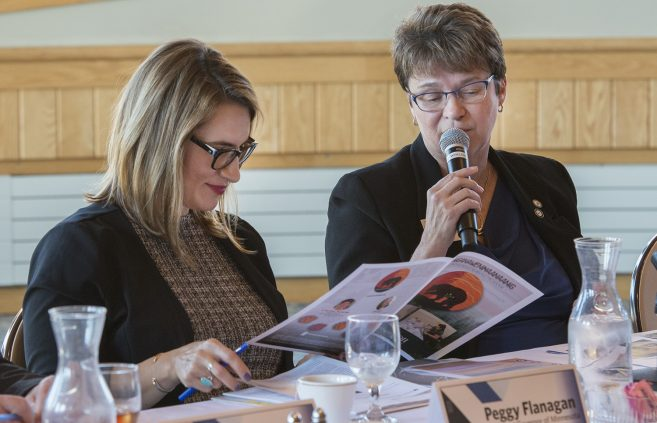 President Faith C. Hensrud shares information about Bemidji State with Flanagan.