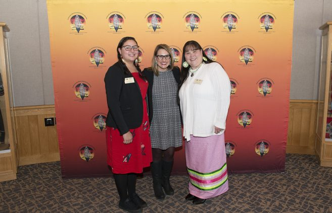 Ann Humphrey and Chrissy Koch, American Indian Resource Center staff with Flanagan.
