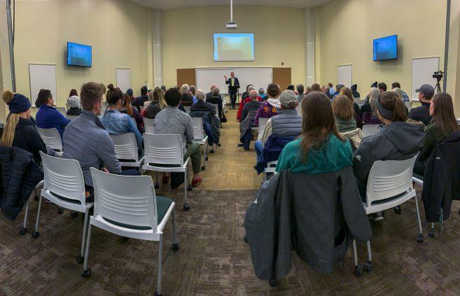 Jon McTaggart speaking at the Leadership Studies Speaker Series..