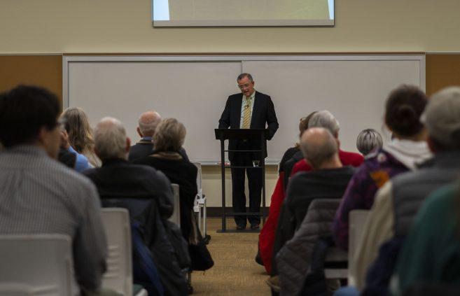 Jon McTaggart speaking at the Leadership Studies Speaker Series.
