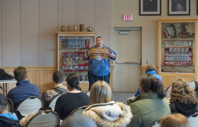 Charles Grolla, Ojibwe Culture & Language educator for the Cass Lake/Bena School district on campus to discuss Ojibwe culture and language.