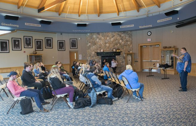 The audience listening to Native American Heritage Month speaker Charles Grolla.