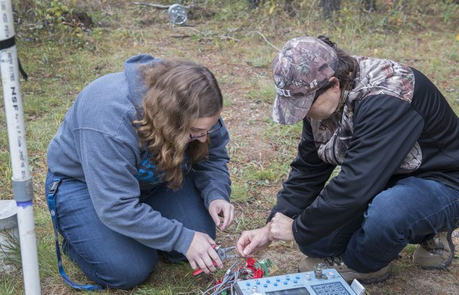 Students performed resistivity measurements which measure resistance in subsurface along array.
