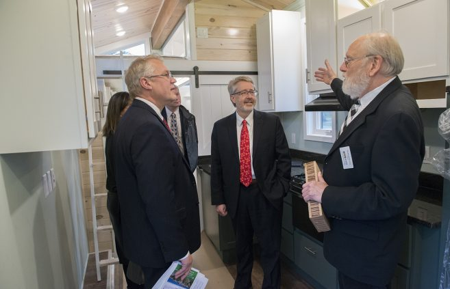 Trustees toured BSU's tiny house with Dr. Tim Brockman, professor of technology, art and design.