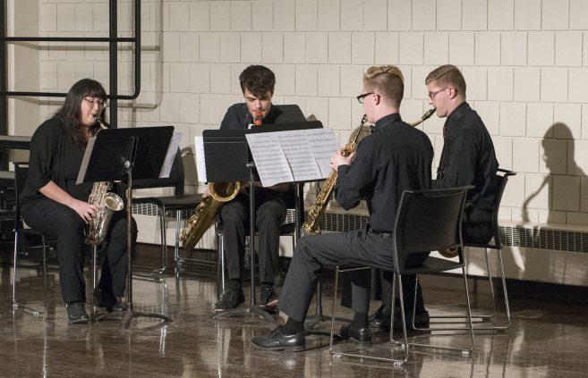 BSU Saxophone quartet performing