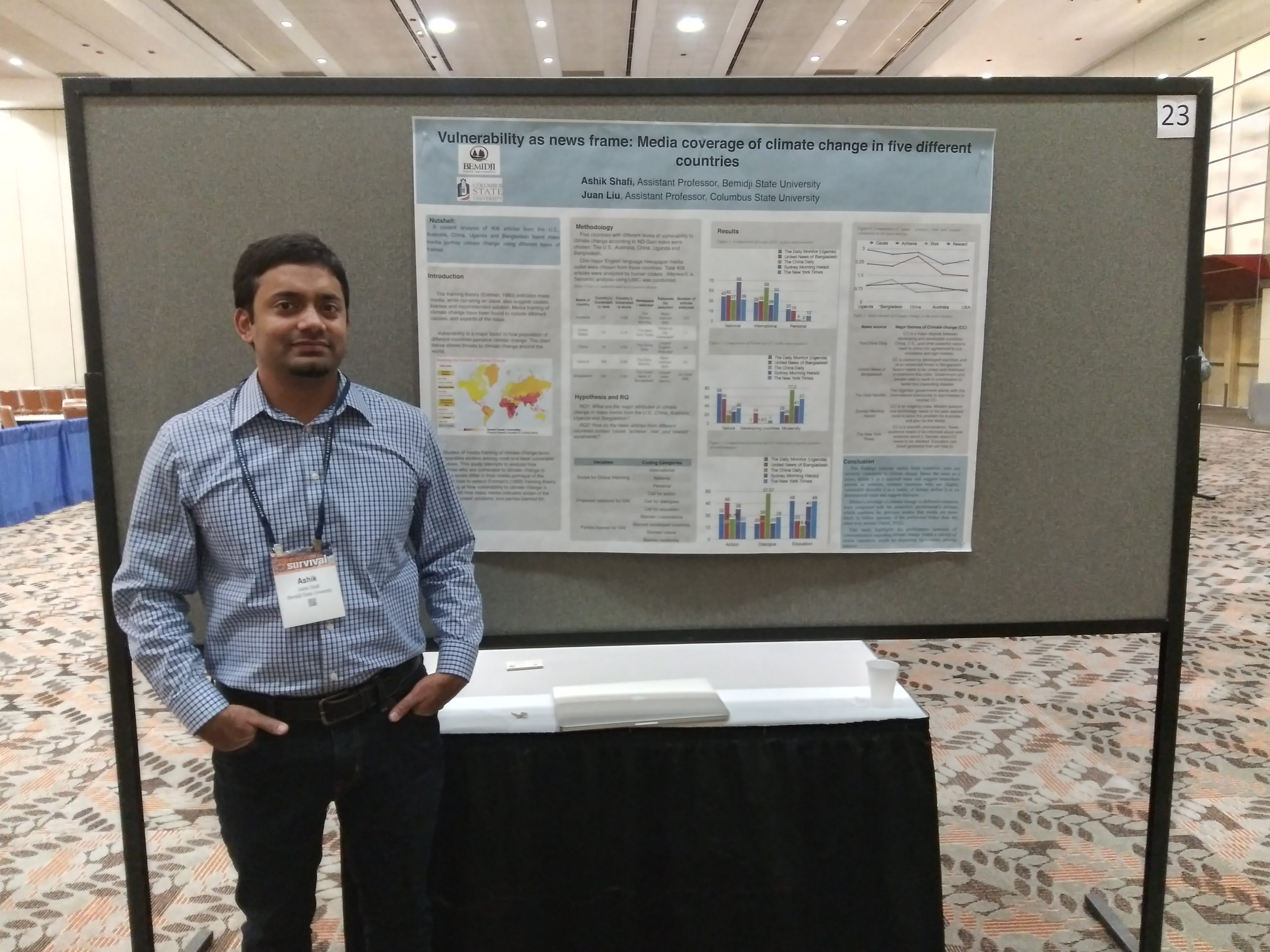 Dr. Ashik Shafi standing with his presentation poster.