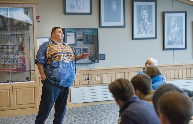 Charles Grolla lead a conversation about Ojibwe culture and language on campus.