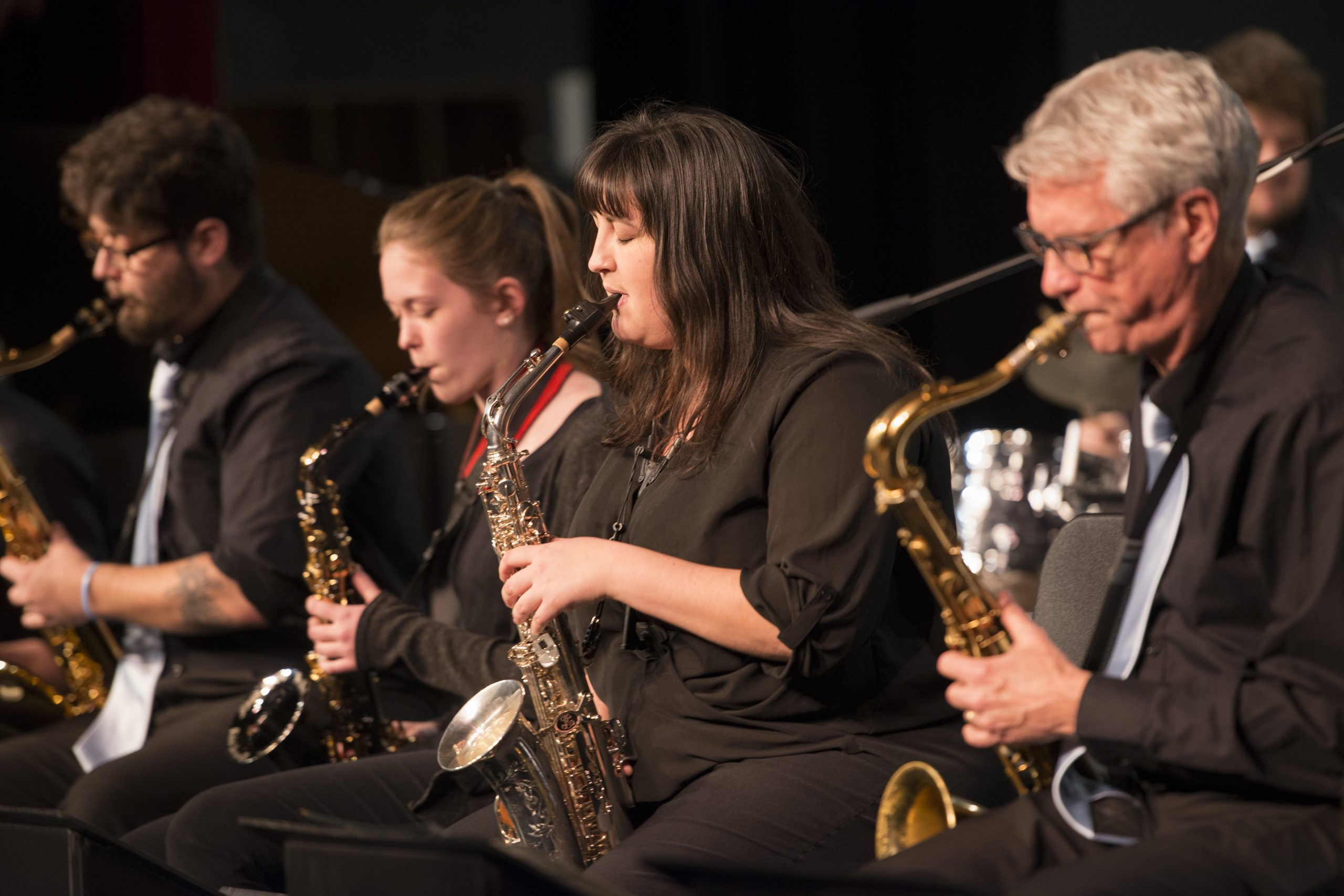Shawna Lechner, alto saxophonist, performing during the 2019 JazzFest.