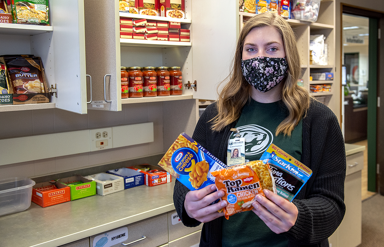 Victoria Nelson, Hobson Union student worker, in Bucky's Pantry.