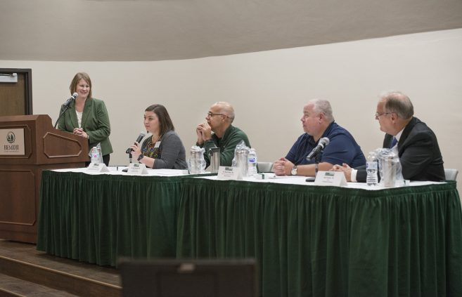 Alumni Leaders in the Classroom, one of the signature events at Bemidji State University's Homecoming weekend, brought more than 20 BSU alumni back into the classroom at their alma mater for panel discussions.