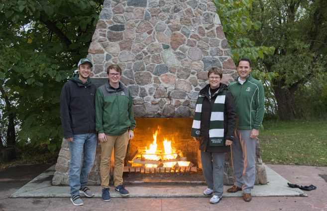 BSU began a new Homecoming tradition in 2019 by lighting the lakeside fireplace on Thursday evening and keeping it lit through the conclusion of the Carl O. Thompson Memorial Concert, BSU's traditional final event of Homecoming week, on Sunday afternoon.