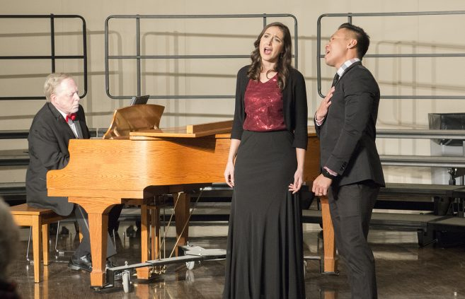 Dr. Phong Nguyen and Dr. Jennifer Olson, assistant professors of music, perform at BSU's first annual Holiday Gala