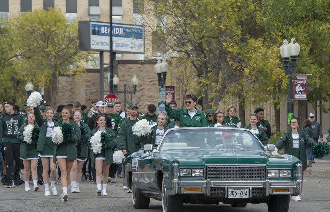 President Hensrud in BSU's Home for the 100th Homecoming parade.