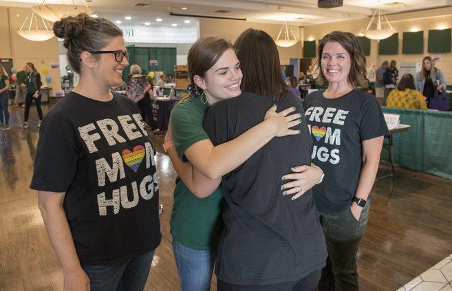 Free mom hugs during BSU's annual All-Campus Health Fair.