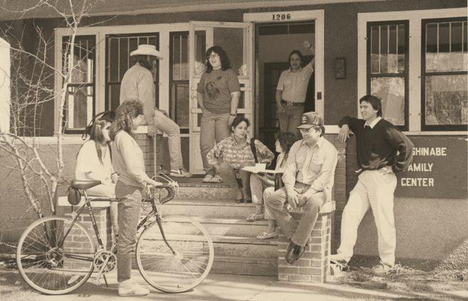 Socializing outside the Anishinaabe Family Center.
