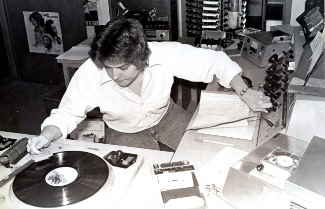 Spinning discs at KBSB, 1973.
