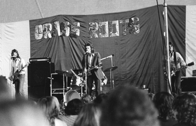 """""""Grass Roots"""" band perform on campus, 1960s ."""