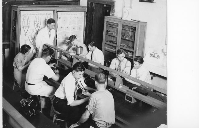 Students in a Science Lab, 1938.