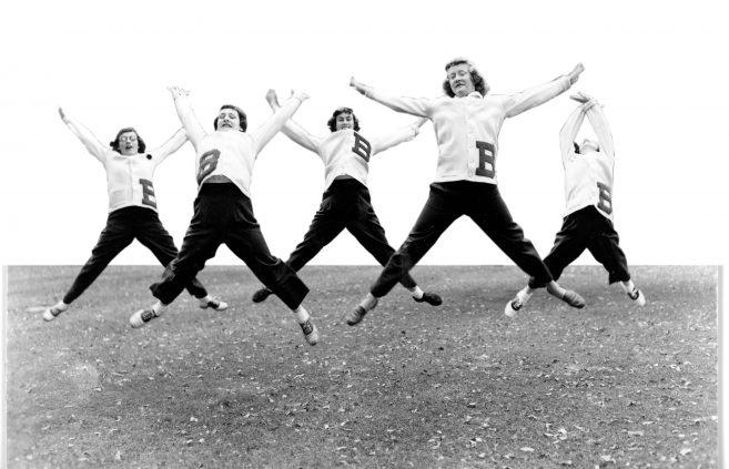 Bemidji State College cheerleaders.