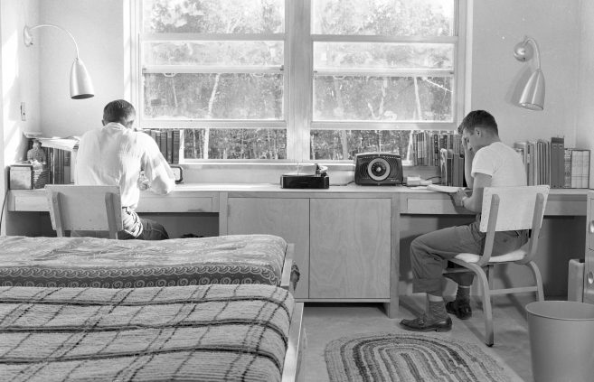 Studying in Birch Hall, 1951.