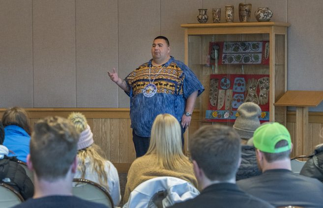 Charles Grolla, Ojibwe culture and language educator for the Cass Lake Bena school district, talked with students during Native American Heritage Month.