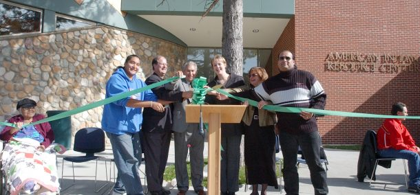 President Quistgaard and others dedicate the American Indian Resource Center in 2003.