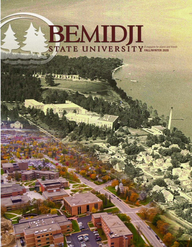 Cover art, historic aerial view next to modern aerial view of Bemidji State