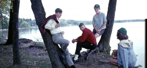 Freshman beanies on display by Lake Bemidji, 1970s.
